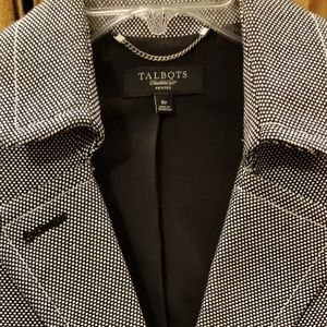 Talbots 8P bl & wh woven tiny check tweed blazer